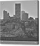 San Francisco Skyline-black And White Acrylic Print