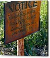 San Manuel Sign Acrylic Print by T C Brown