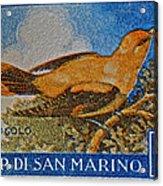 San Marino 1 Lire Stamp Acrylic Print