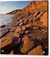 Sandstone Cliffs, Cape Turner, Prince Acrylic Print by John Sylvester