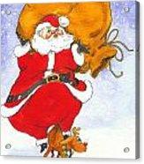 Santa And Rudolph Acrylic Print by Peggy Wilson