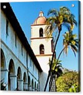 Santa Barbara Mission With Palm Trees Acrylic Print