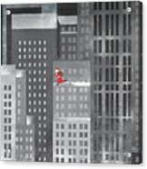 Santa Clause Running On A Skyscraper Acrylic Print