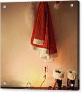 Santa Costume Hanging On Coat Hook With Christmas Lights Acrylic Print
