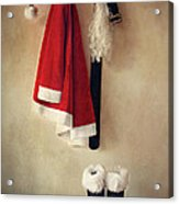 Santa Costume With Boots On Coathook Acrylic Print