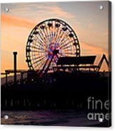 Santa Monica Pier Ferris Wheel Sunset Acrylic Print by Paul Velgos