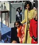 Sasha Obama Peeks Around Her Mother Acrylic Print by Everett