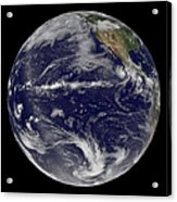 Satellite Image Of Earth Centered Acrylic Print by Stocktrek Images