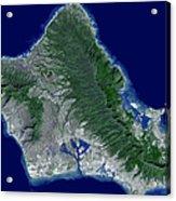 Satellite Image Of Oahu, Hawaii Acrylic Print