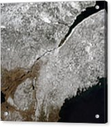 Satellite View Of A Frosty Landscape Acrylic Print by Stocktrek Images