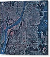 Satellite View Of Little Rock, Arkansas Acrylic Print