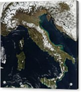 Satellite View Of Snow In Italy Acrylic Print