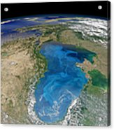 Satellite View Of Swirling Blue Acrylic Print