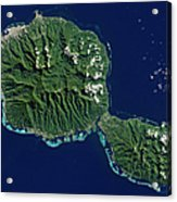 Satellite View Of Tahiti Acrylic Print