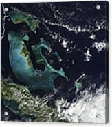 Satellite View Of The Bahama Islands Acrylic Print