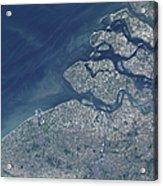 Satellite View Of The Belgium Coastline Acrylic Print