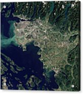 Satellite View Of The Frasier River Acrylic Print