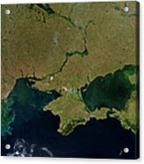 Satellite View Of The Ukraine Coast Acrylic Print by Stocktrek Images