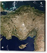 Satellite View Of Turkey And The Island Acrylic Print