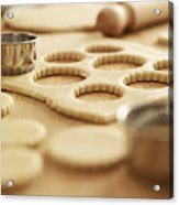 Scalloped Cookie Cutters And Sugar Cookie Dough Acrylic Print
