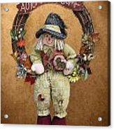 Scarecrow On Autumn Wreath Acrylic Print by Linda Phelps