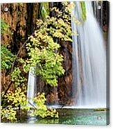 Scenic Waterfall In Autumn Acrylic Print