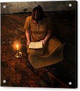 Schoolgirl Sitting On Wood Floor Reading By Candlelight Acrylic Print by Jill Battaglia