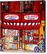Schwartz's Deli-montreal Street Scenes-painting-by  Quebec Artist-carole Spandau Acrylic Print
