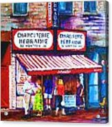 Schwartz's Deli With Lady In Green Dress Acrylic Print