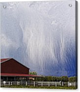 Scifi Storm And Red Barn Acrylic Print