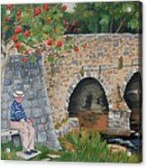 Scottish Man Under Flowering Tree Acrylic Print