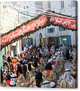 Scouts Marching During Christmas Parade In Bethlehem Acrylic Print