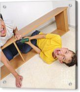 Screaming Mother And Son Assembling Furniture Acrylic Print