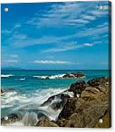 Sea Landscape With Beach Coast Rocks And Blue Sky Acrylic Print