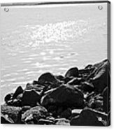 Sea Of Galilee In Black And White Acrylic Print