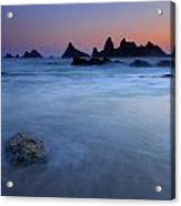 Seal Rock Dusk Acrylic Print by Mike  Dawson