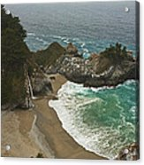 Seascape And Waterfall At Julia Pfeiffer Burns State Park Acrylic Print