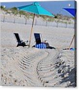 seashore 82 Beach Chairs Beach Umbrella and Tire Treads in Sand Acrylic Print