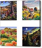seasonal farm country folk art-set of 4 farms prints amricana American Americana print series Acrylic Print