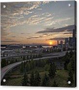Seattle Arrival Sunset Acrylic Print
