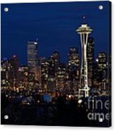 Seattle In The Evening Acrylic Print by Alan Clifford