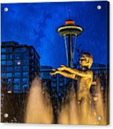 Seattle Rain Boy Acrylic Print