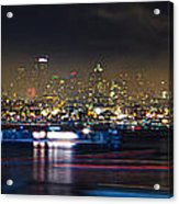 Seattle Skyline Firework Panorama Acrylic Print by Dmitry Grekov