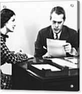 Secretary Assisting Businessman Reading Document At Desk, (b&w) Acrylic Print by George Marks