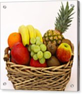 Selection Of Tempting Fresh Fruits In A Basket Acrylic Print by Rosemary Calvert