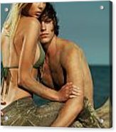 Sensual Portrait Of A Young Couple On The Beach Acrylic Print