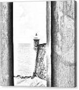 Sentry Tower View Castillo San Felipe Del Morro San Juan Puerto Rico Black And White Line Art Acrylic Print