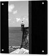 Sentry Tower View Castillo San Felipe Del Morro San Juan Puerto Rico Black And White Acrylic Print