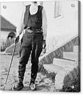 Serbian Man Wearing Hat, Vest, Belted Acrylic Print by Everett
