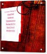 Set List Acrylic Print